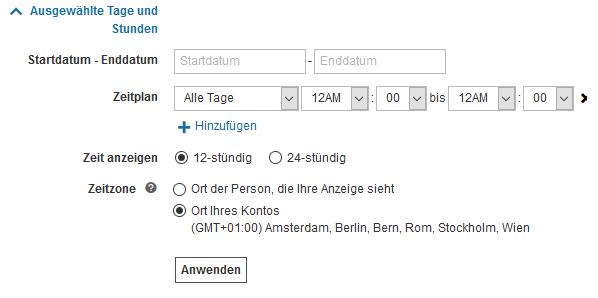 Bing Ads Zeitplaner für Anzeigenerweiterungen