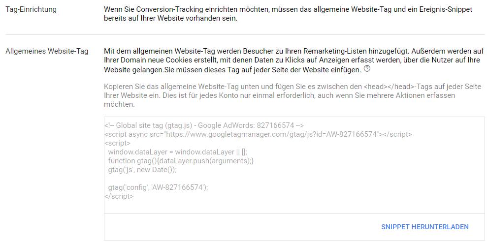 Conversion Tracking einrichten - allgemeines Tag