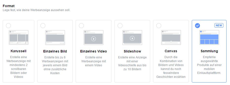 Collection Ads Format auswählen