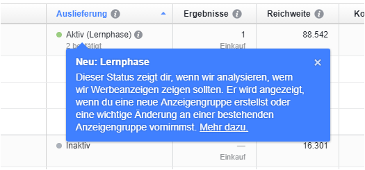 Facebooks Lernphase in der Anzeigenausspielung