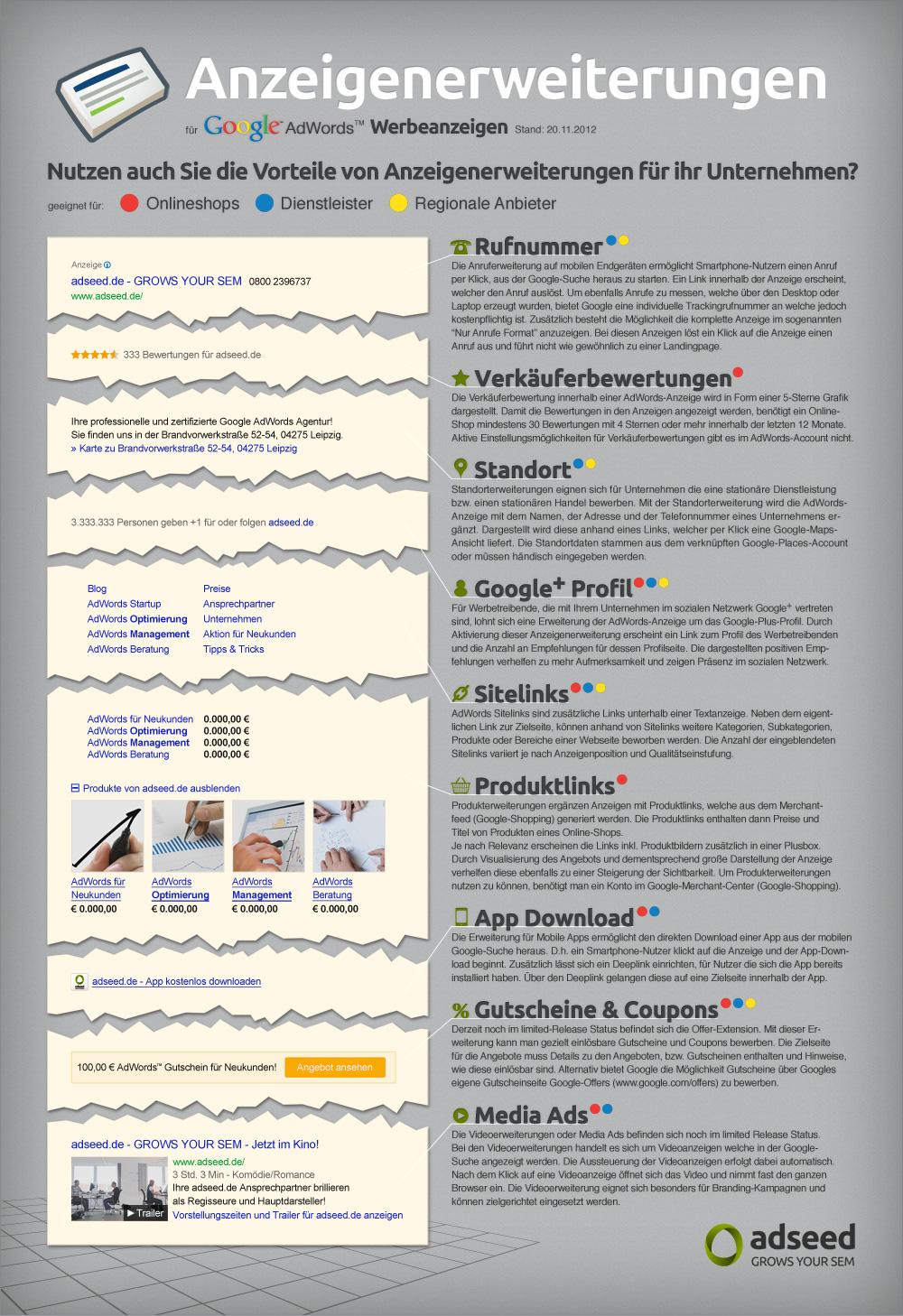 Infografik Adwords Anzeigenerweiterungen