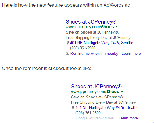 Google AdWords Testing Location-Based Store Reminders