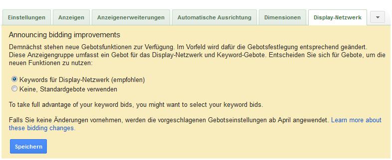 Display Gebotsverwaltung