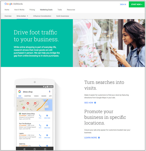 AdWords Marketing Goals Website