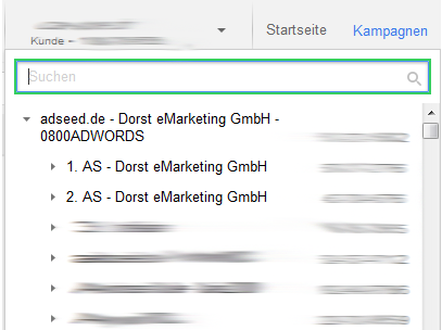 Account Suche im AdWords Interface