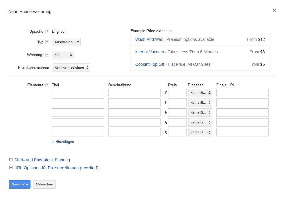 Google AdWords Preiserweiterung