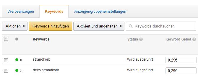Amazon gesponserte Produkte Gebotsvergabe auf Keywordebene.