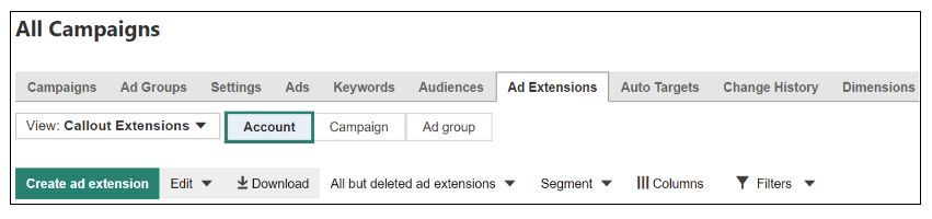 Bing Ads Ad Extensions auf Accountlevel