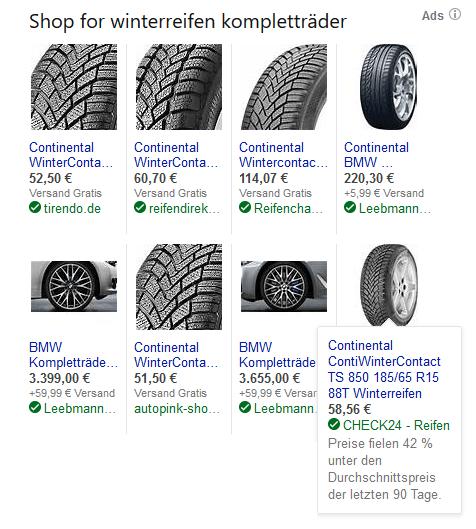 Price Drop Annotation bei Bing