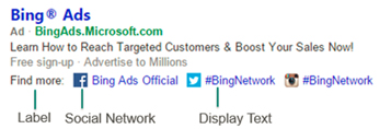 Bing Ads Social Plugin in Anzeigen