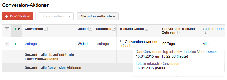 AdWords Conversion Status