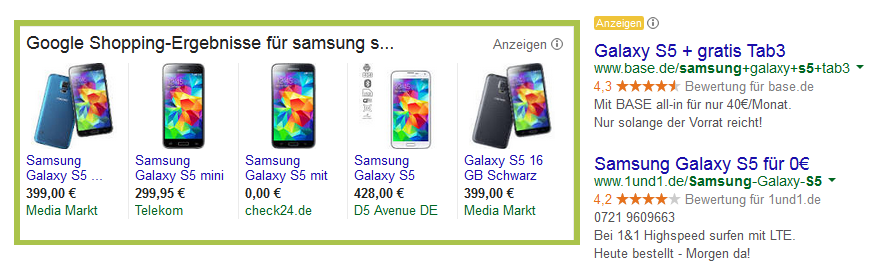 Google Shopping Ansicht