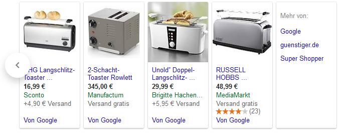 Google Shopping weitere Anbieter Beispiel