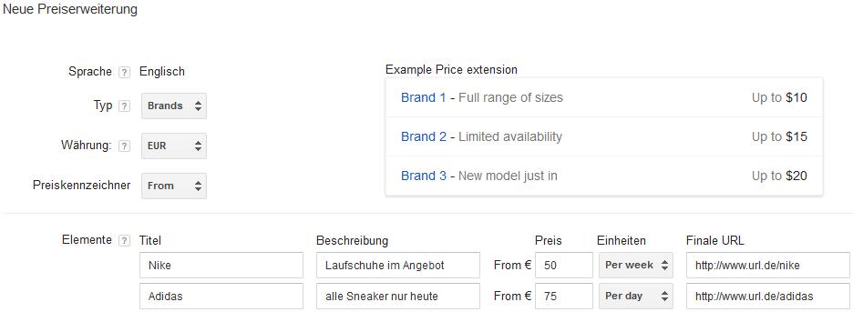 Preiserweiterung Beispiel