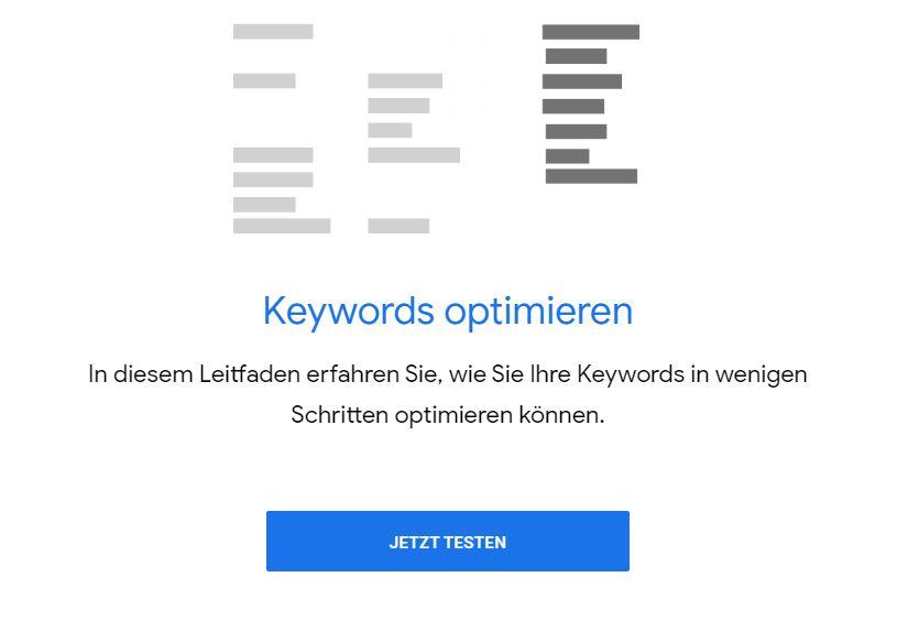 Keyword Planer Keywords optimieren