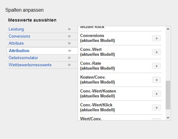 Adwords Attributionsmodelle Spalten Auswahl