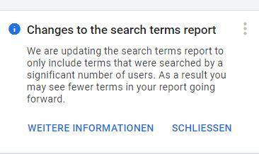 Änderungen am Bericht für Suchbegriffe und Suchbegriffe Ads Änderungen
