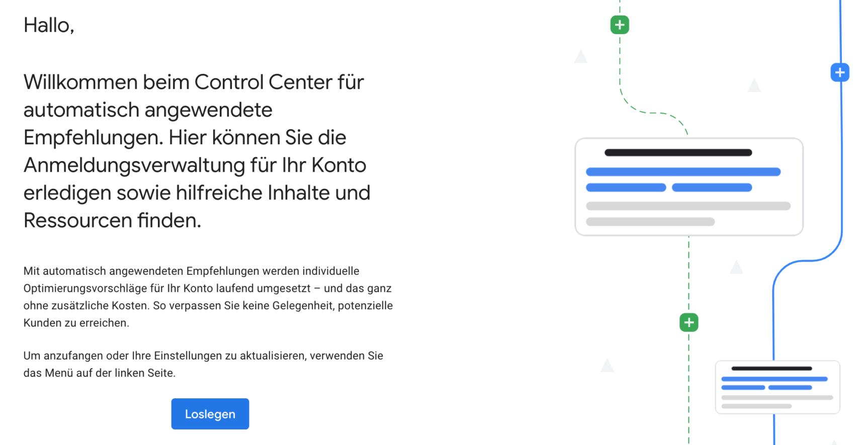 Startfenster des Control Centers für automatisch angewendete Empfehlungen