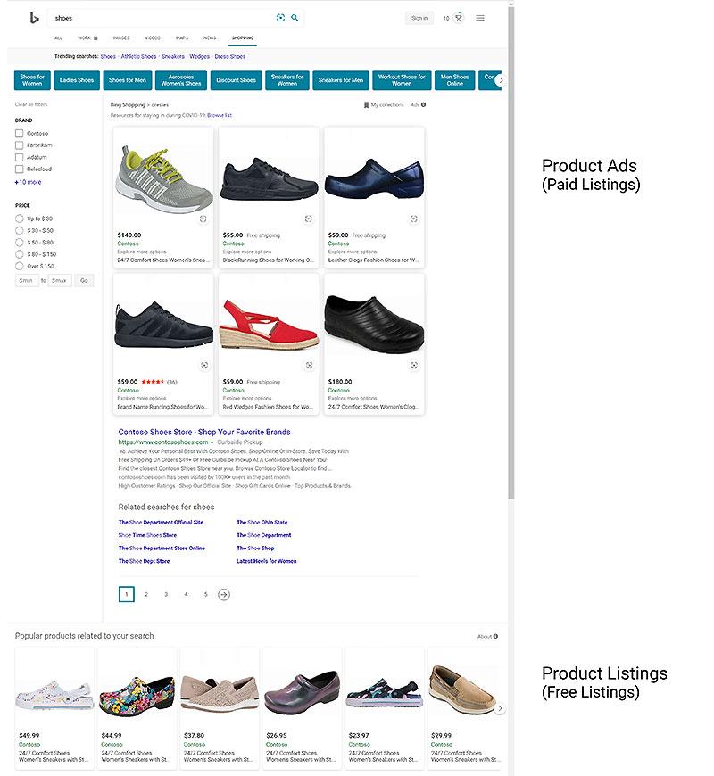 Ansicht der Microsoft Ads kostenlosen Listings und unbezahlten Listings Bing Ads