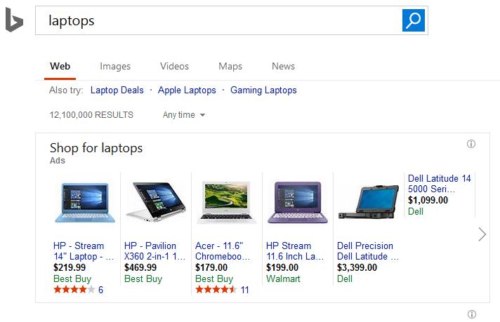 Bing Shopping Karussell