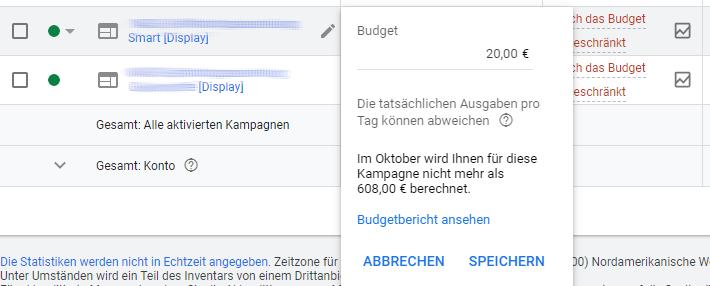 Google Ads Budgetbericht Übersicht Monat