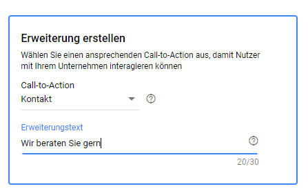Call to Action der Form Lead Extension
