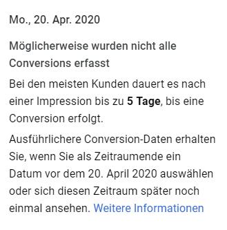 Conversion-Delay Hinweis