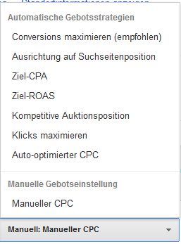 AdWords Gebotsstrategie Conversions maximieren