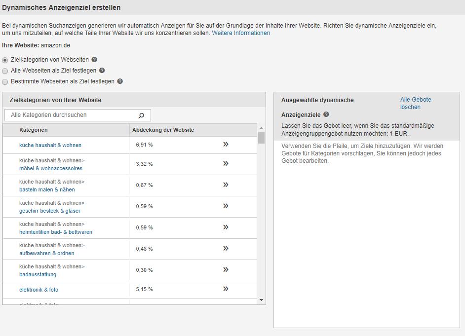 Dynamische Suchkampagnen in Bing Ads