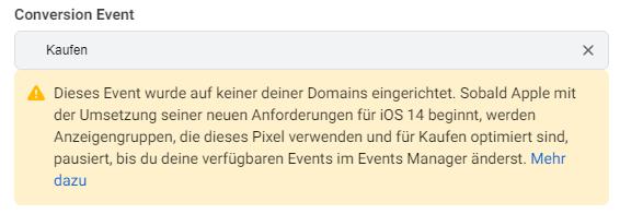 Facebook Conversion Events Fehlermeldung