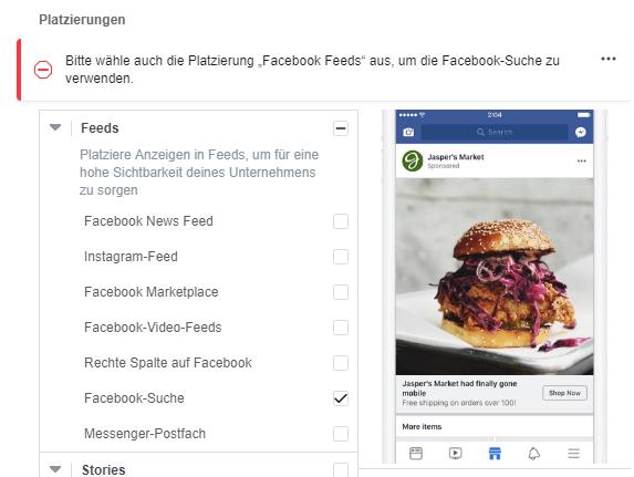 Facebook Ads in der Suche