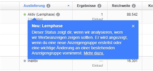 Facebook-Ausspielung-Lernphase