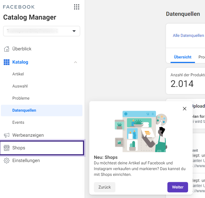 Facebook Shops im Catalog Manager