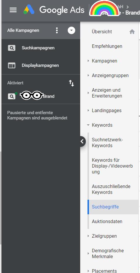 Google Ads Oberfläche