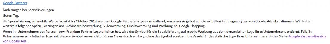 Google Partner Sepzialisierung