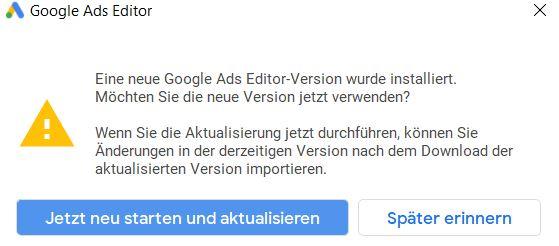 Google Ads Editor Update