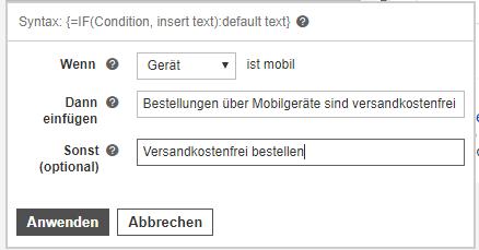 IF-Funktion Microsoft Ads