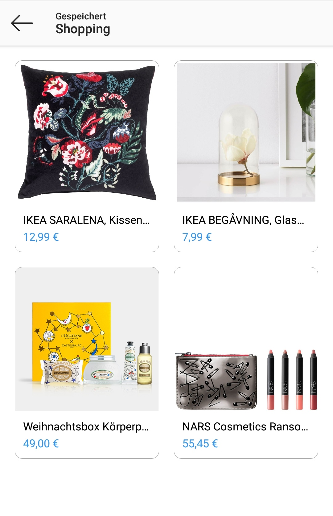 Gespeicherte Shopping Produkte Instagram