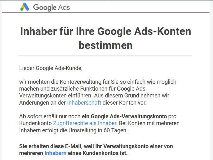 Inhaberschaft von Google Ads Kundenkonten nur noch in einem Verwaltungskonto