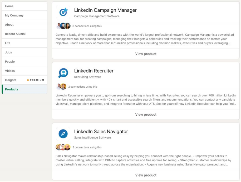 LinkedIn Product Pages