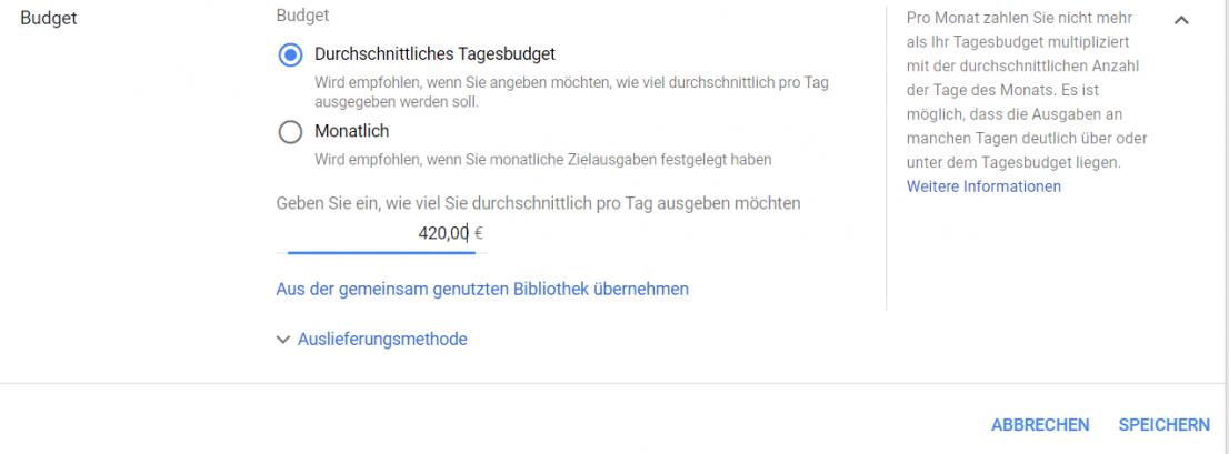 Google Monatsbudget