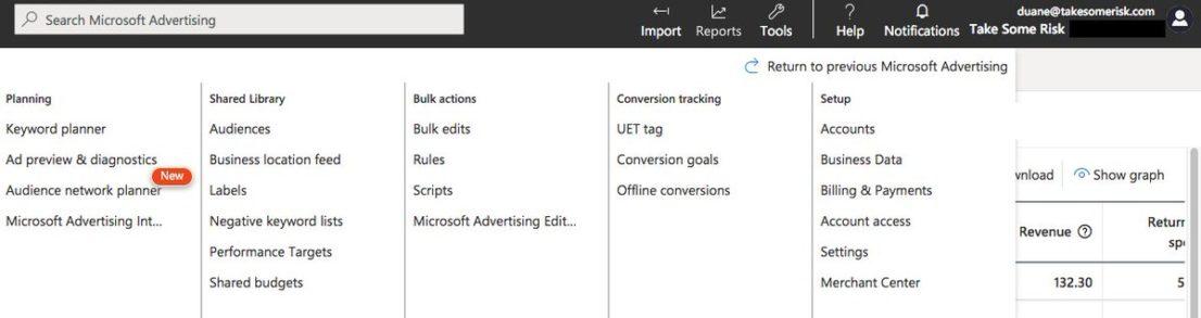 Neue UI für Microsoft Ads mit Tools-Übersicht