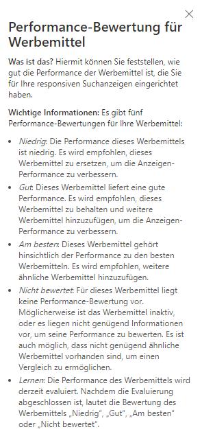 Performance Bewertung reaktionsfähige Anzeigen