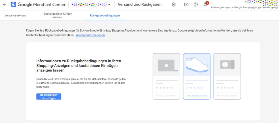 Rückgabebedingungen Google Merchant Cente