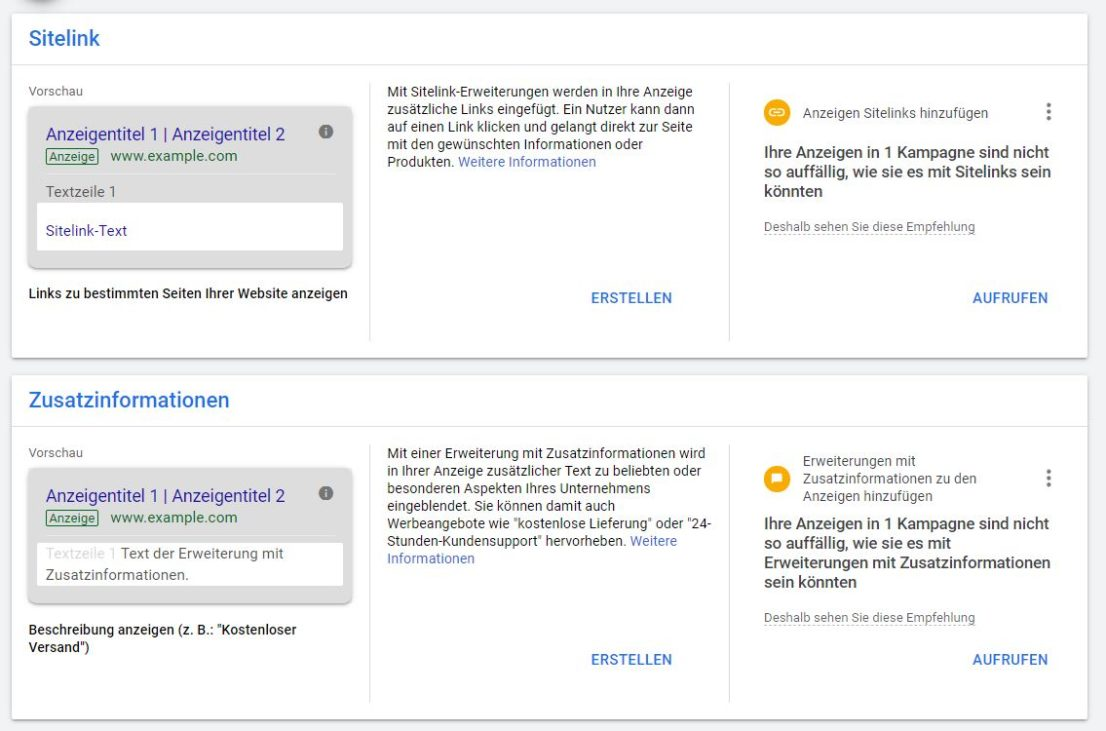 Google Ads Anzeigenerweiterungen im neuen Design - Empfehlungen direkt sichtbar