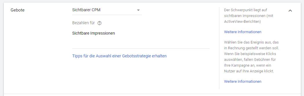 Einstellung des Sichtbaren CPM in Google Ads