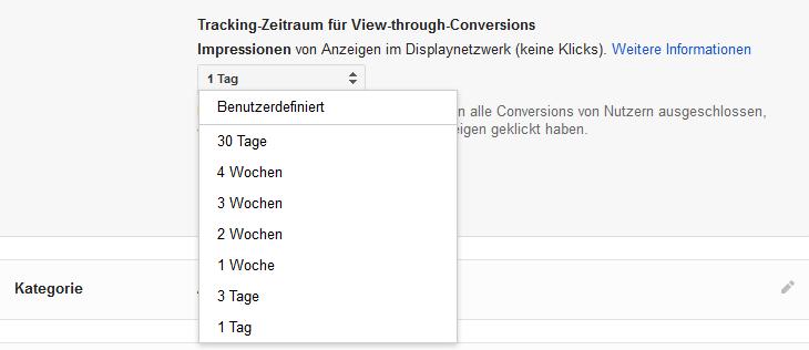 Tracking-Zeitraum für View-Through-Conversions