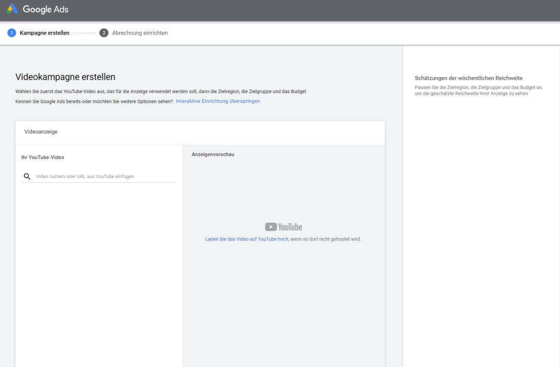 Youtube Select im Test von adseed - Startseite von Youtube Select in Google Ads