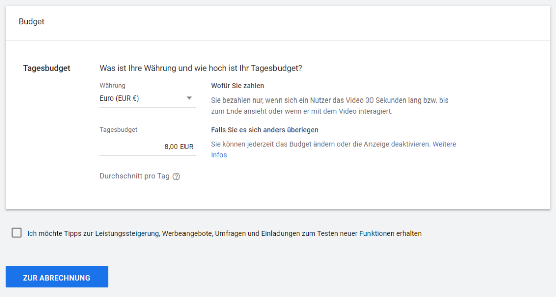 Youtube Select im Test von adseed - Budget und Tagesbudget von Youtube Select in Google Ads