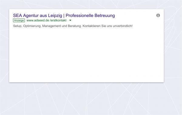 adseed: AdWords Anzeige Desktop Ansicht
